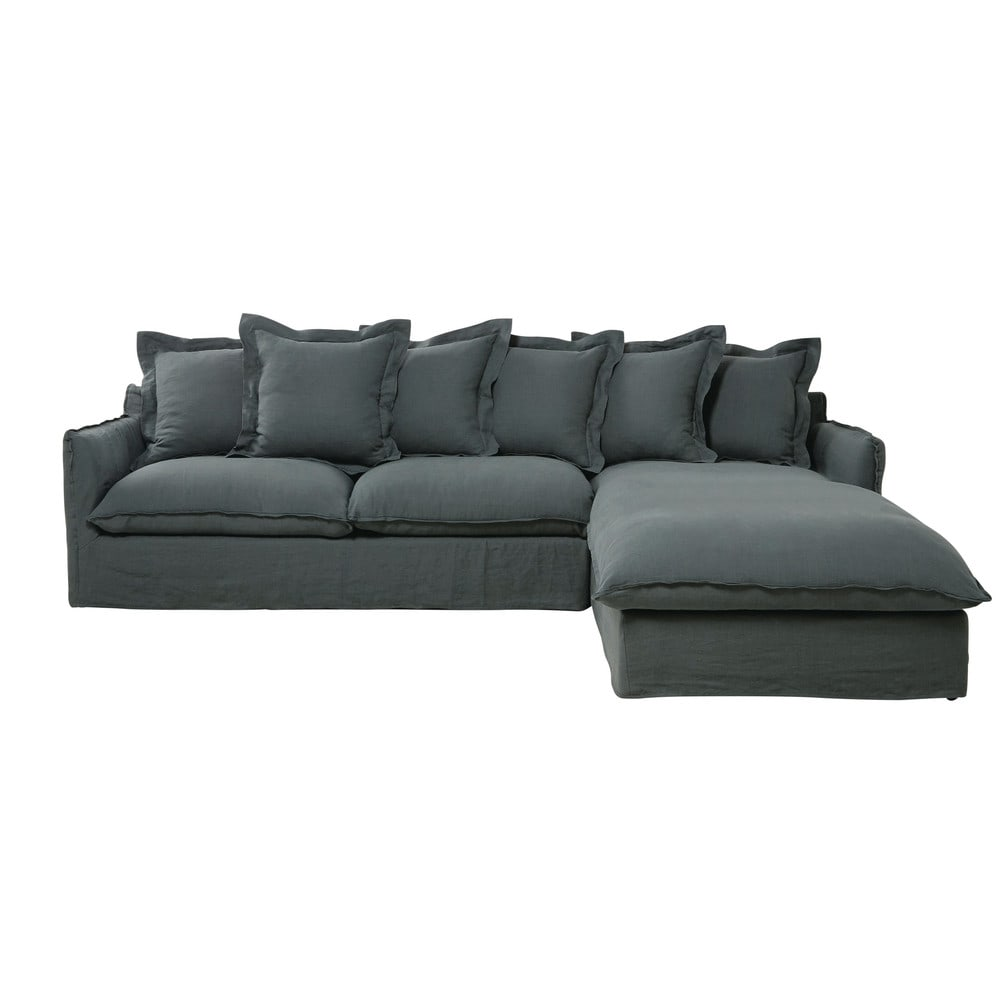 7 seater washed linen corner sofa in charcoal grey for Canape cactus sofa