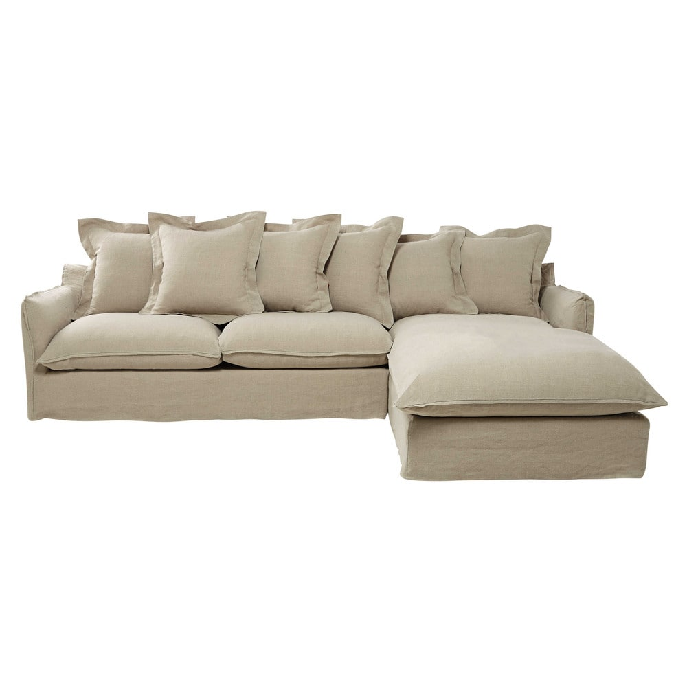 7 seater washed linen corner sofa in ecru barcelone for Sofa 7 seater