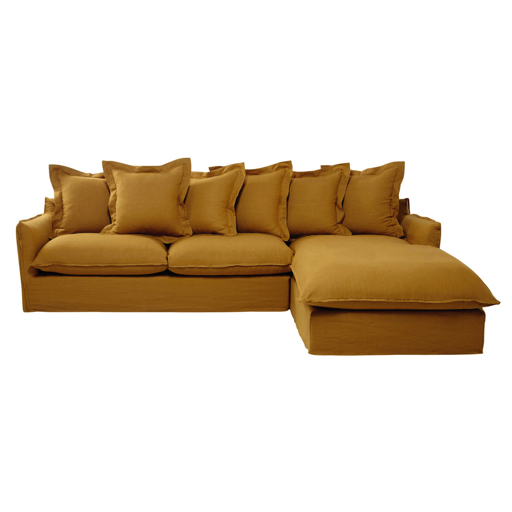 7 seater washed linen corner sofa in mustard yellow
