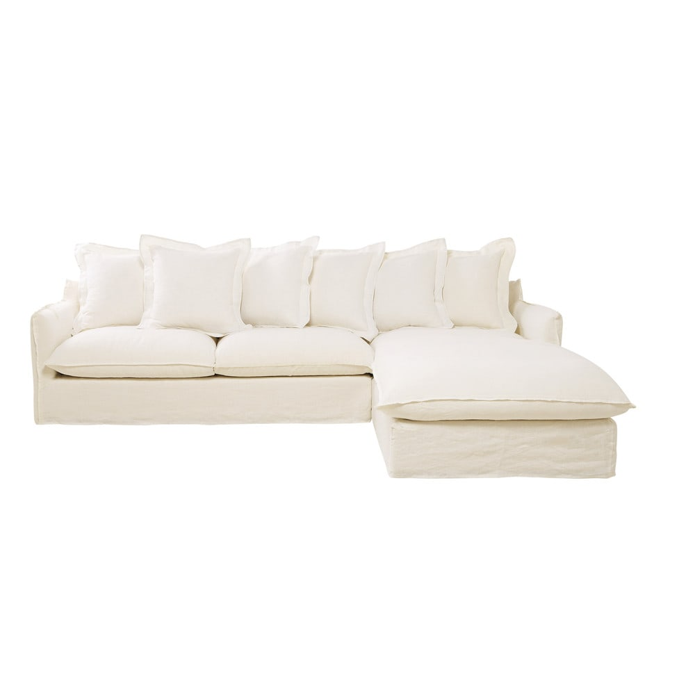 7 seater washed linen corner sofa in white barcelone for White linen sectional sofa