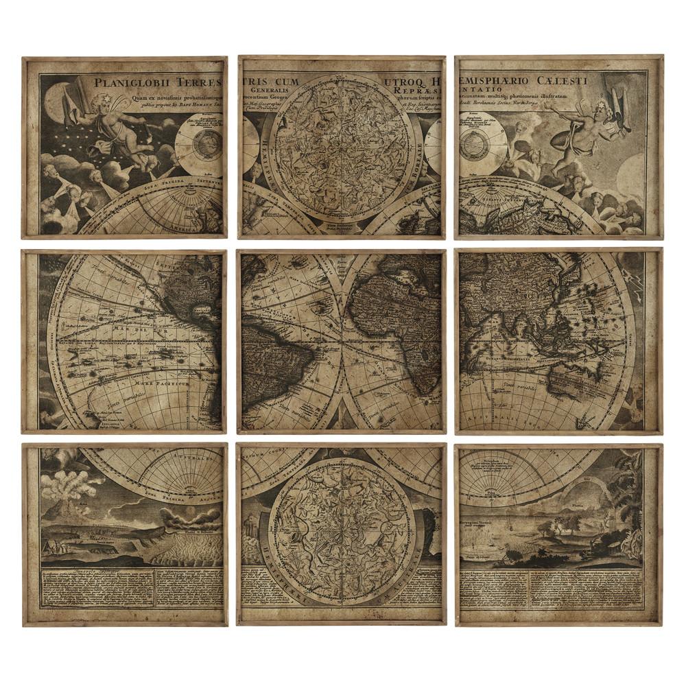 9 cadres en bois 189 x 213 cm atlas maisons du monde - Maison du monde mappemonde ...
