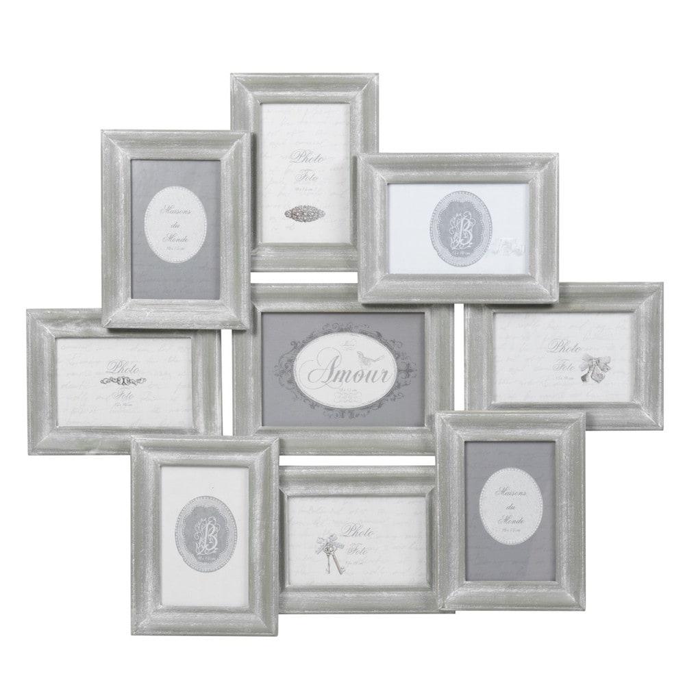 9 fach bilderrahmen aus holz 56 x 65 cm grau maisons du monde. Black Bedroom Furniture Sets. Home Design Ideas