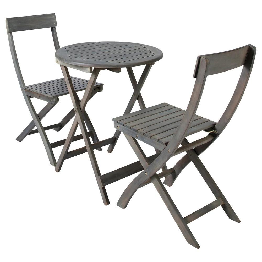 Maison Du Monde Saint Malo #2: Acacia Garden Table + 2 Chairs In Grey D 39cm
