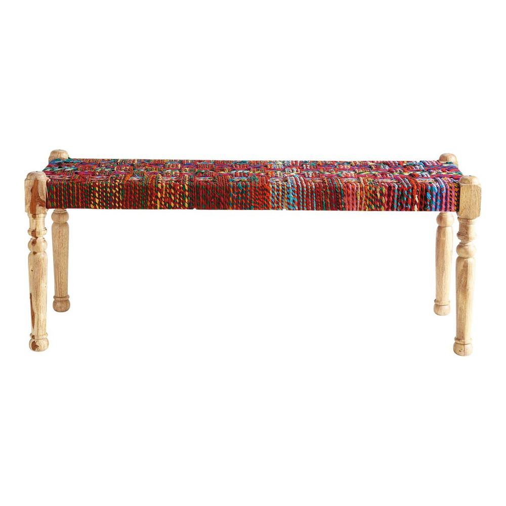 Acacia wood and Indian saris Indian bench, multicoloured W 122cm - Acacia Wood And Indian Saris Indian Bench, Multicoloured W 122cm