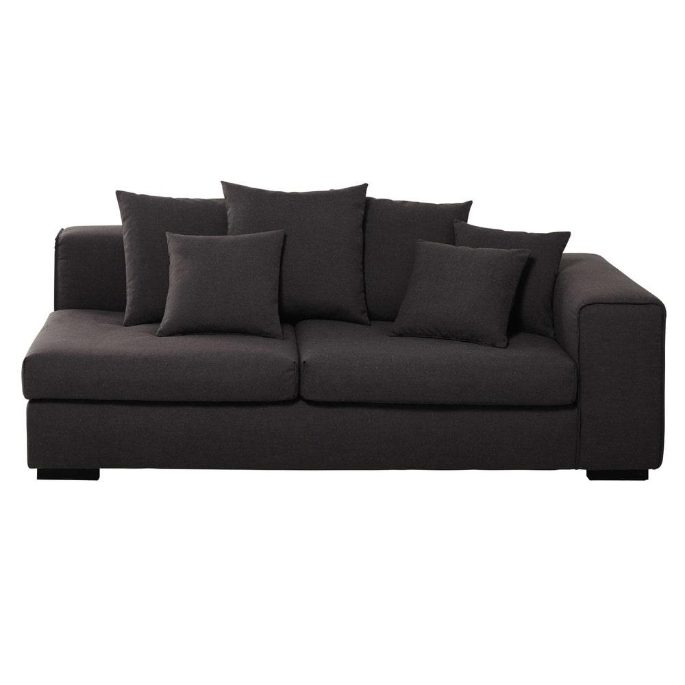 accoudoir droit de canap 3 places modulable en lin gris chin arthus maisons du monde. Black Bedroom Furniture Sets. Home Design Ideas