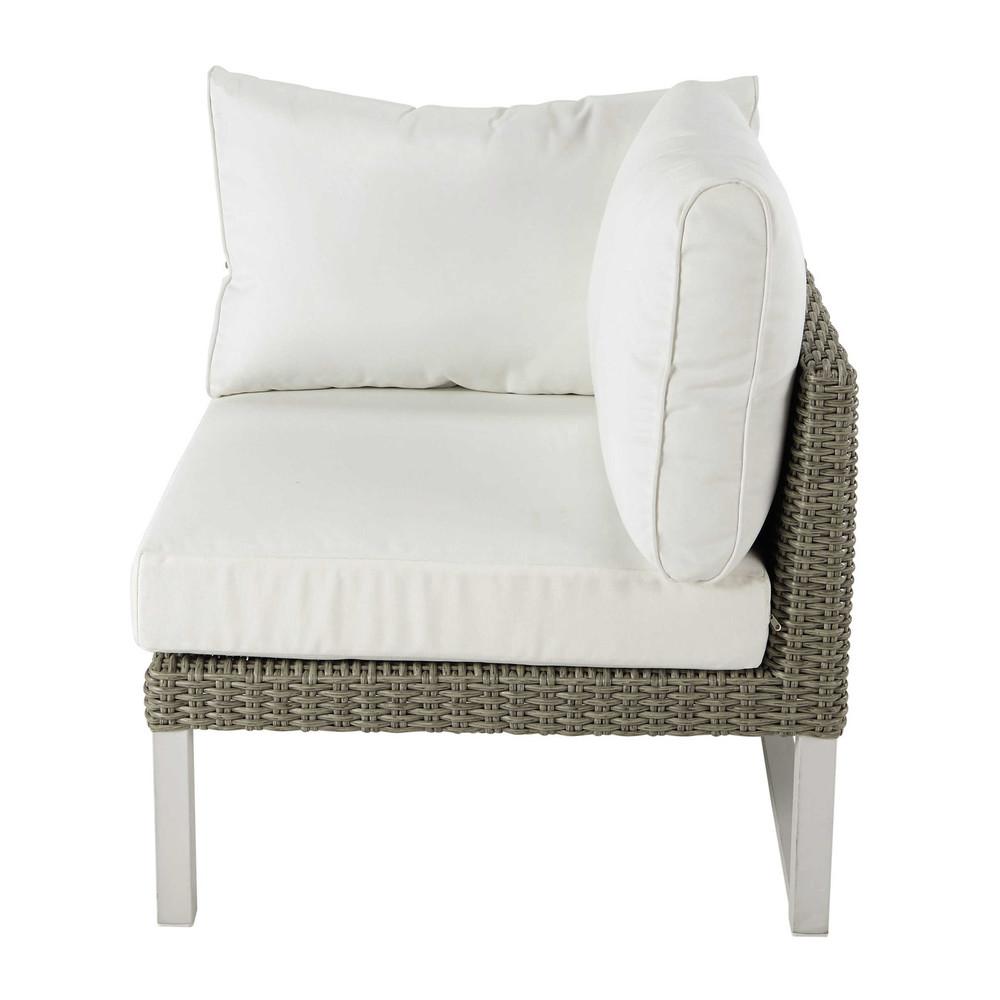 Accoudoir droit de canapé de jardin en résine tressée blanc ...