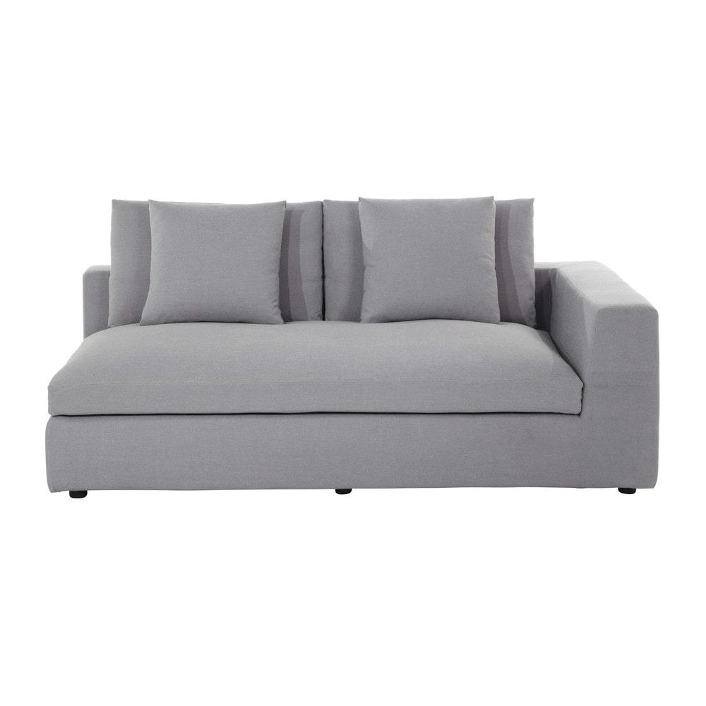 accoudoir droit de canap en tissu gris clair edgard. Black Bedroom Furniture Sets. Home Design Ideas