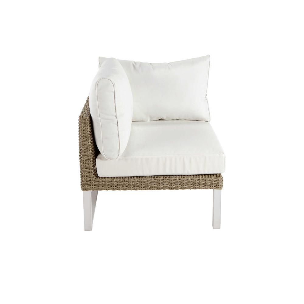 Accoudoir gauche de canap de jardin en aluminium blanc - Canape de jardin aluminium ...