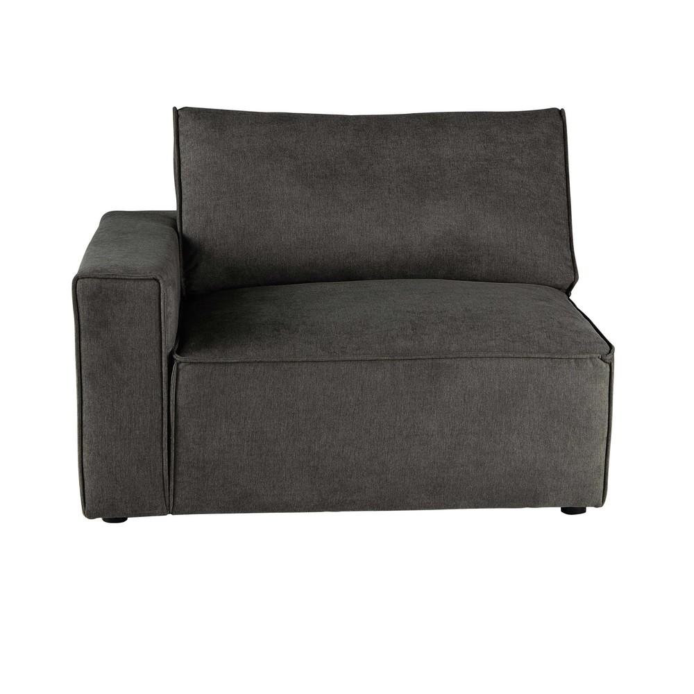 accoudoir gauche de canap en tissu taupe gris malo maisons du monde. Black Bedroom Furniture Sets. Home Design Ideas