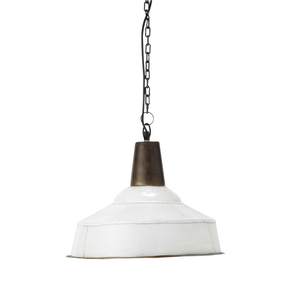 Adonis metal pendant lamp in white d 43cm maisons du monde for Maison du monde lampadari