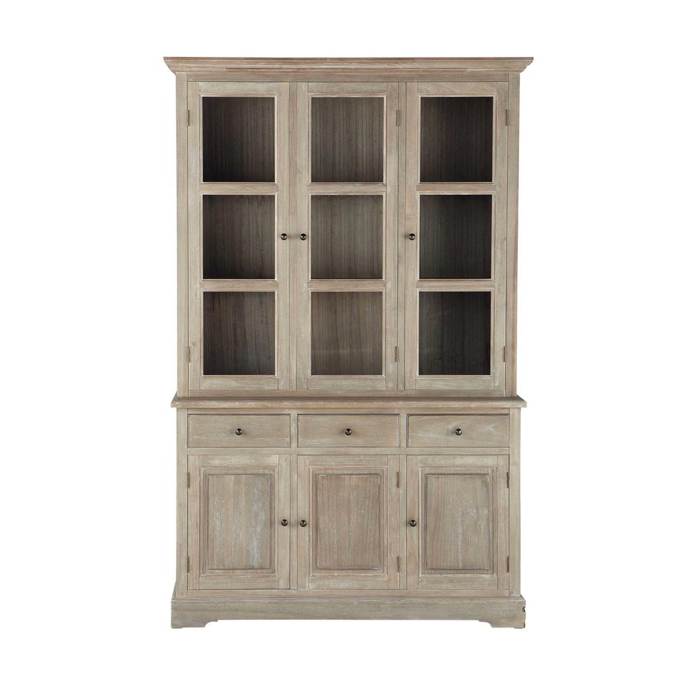 alacena de madera de paulonia gris cea an 130 cm cavaillon maisons du monde. Black Bedroom Furniture Sets. Home Design Ideas