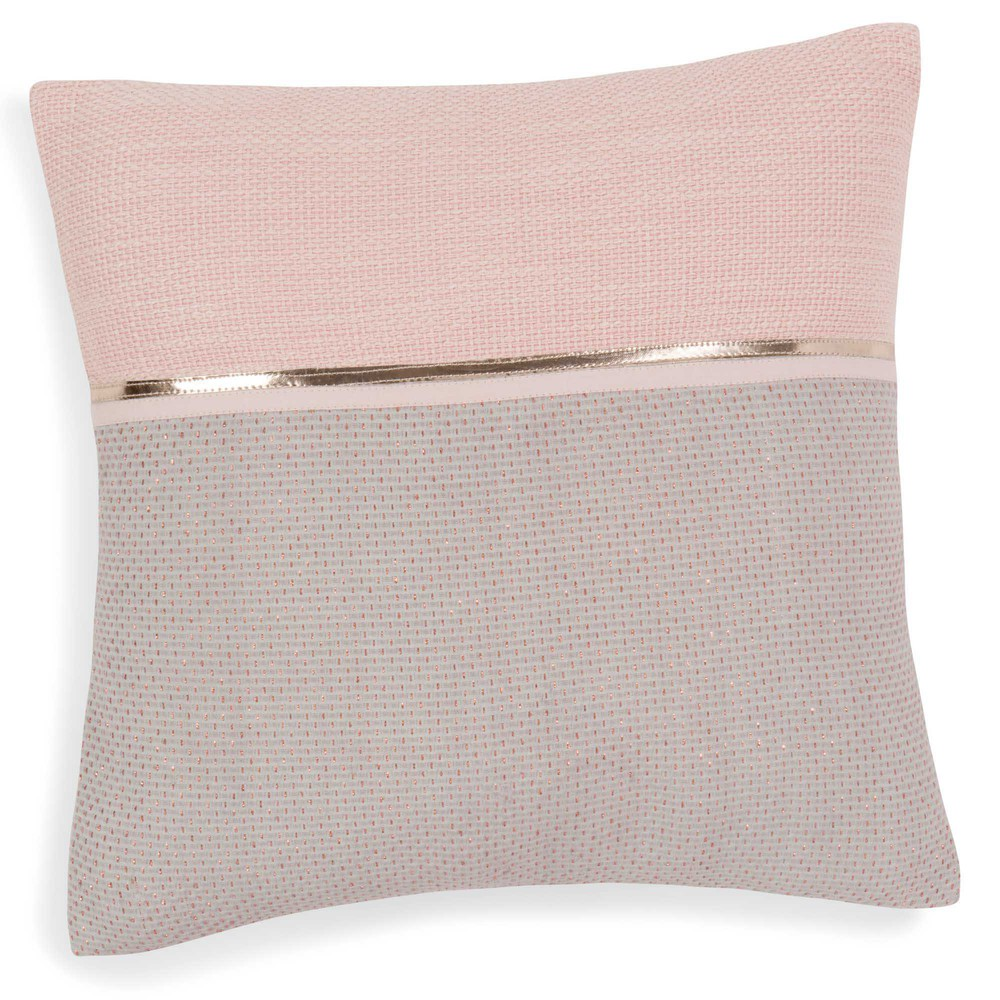 Alanna pink grey cotton cushion cover 40 x 40 cm maisons - Maison du monde coussin de chaise ...