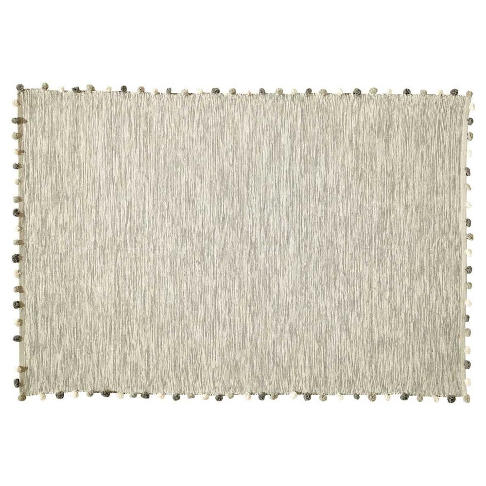 alfombra color crudo de algodn cm pompon