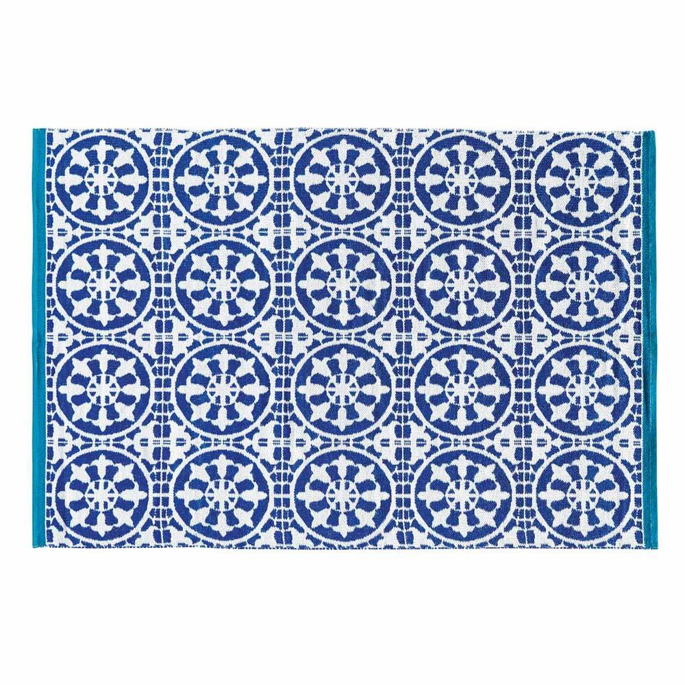 Alfombra de exterior azul y blanco 140 x 200 cm santorini - Alfombras para exterior ...