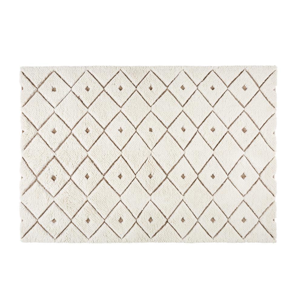 Alfombra de lana y tela blanca con motivos 140x200 cm for Alfombras motivos geometricos