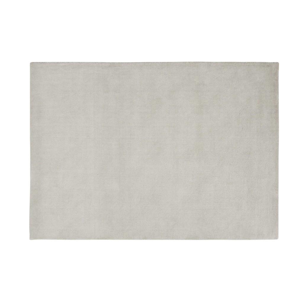 Alfombra de pelo corto gris de lana 140 200 cm soft maisons du monde - Alfombras de pelo corto ...