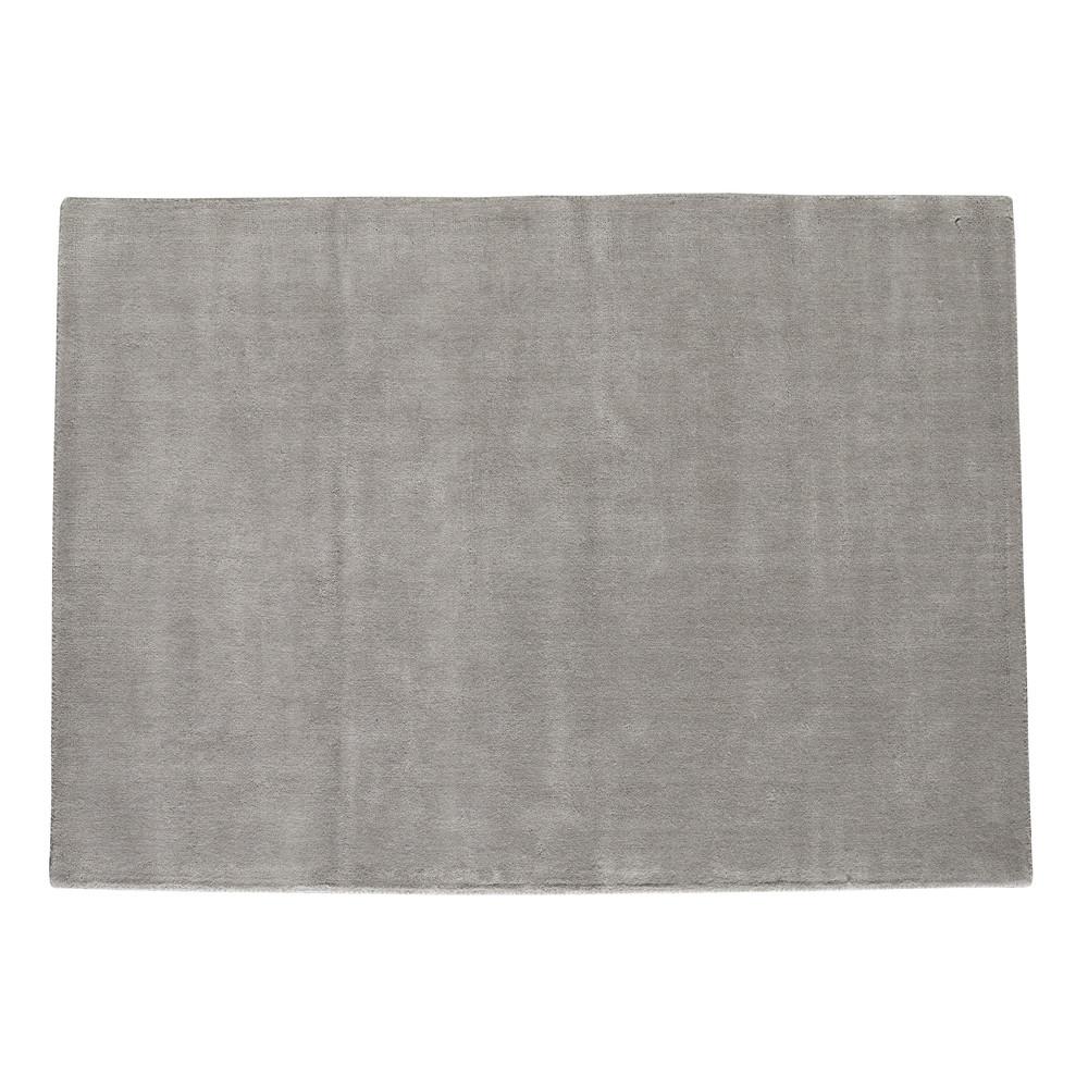 Alfombra de pelo corto gris de lana 250 350 cm soft - Alfombra gris pelo corto ...