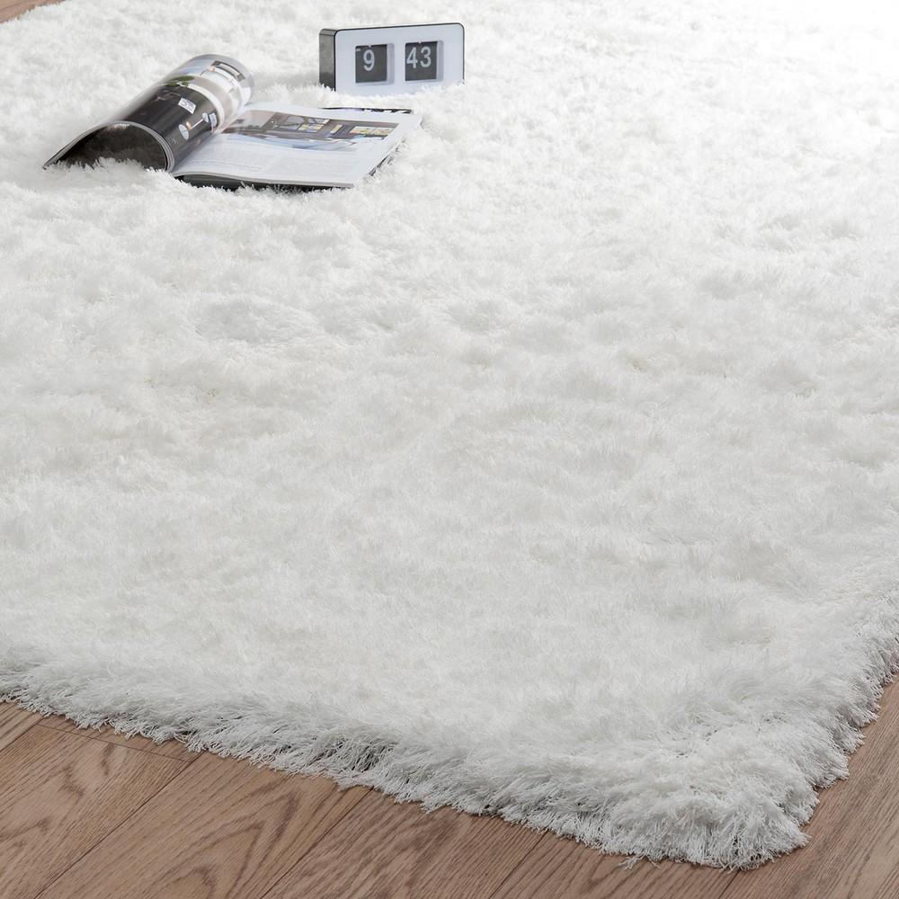 alfombra de pelo largo de tela color crudo 140 x 200 cm inuit maisons du monde. Black Bedroom Furniture Sets. Home Design Ideas