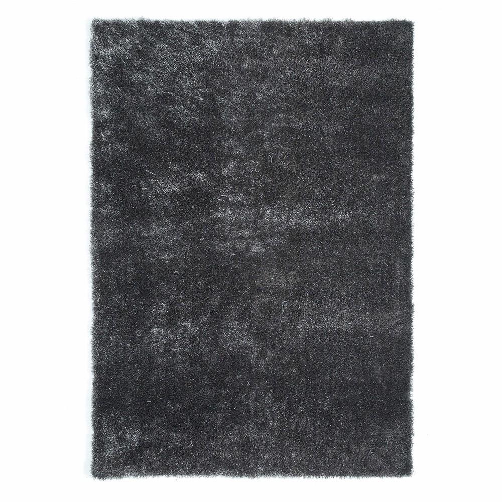 Alfombra de pelo largo de tela gris 140 x 200 cm lumiere - Alfombras de pelo largo ...