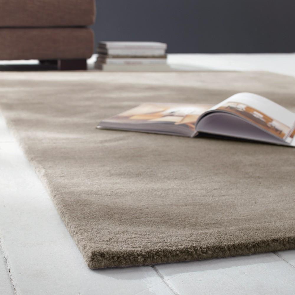 alfombra de pelos cortos de lana beis 200 x 200 cm soft On alfombra lana pelo corto