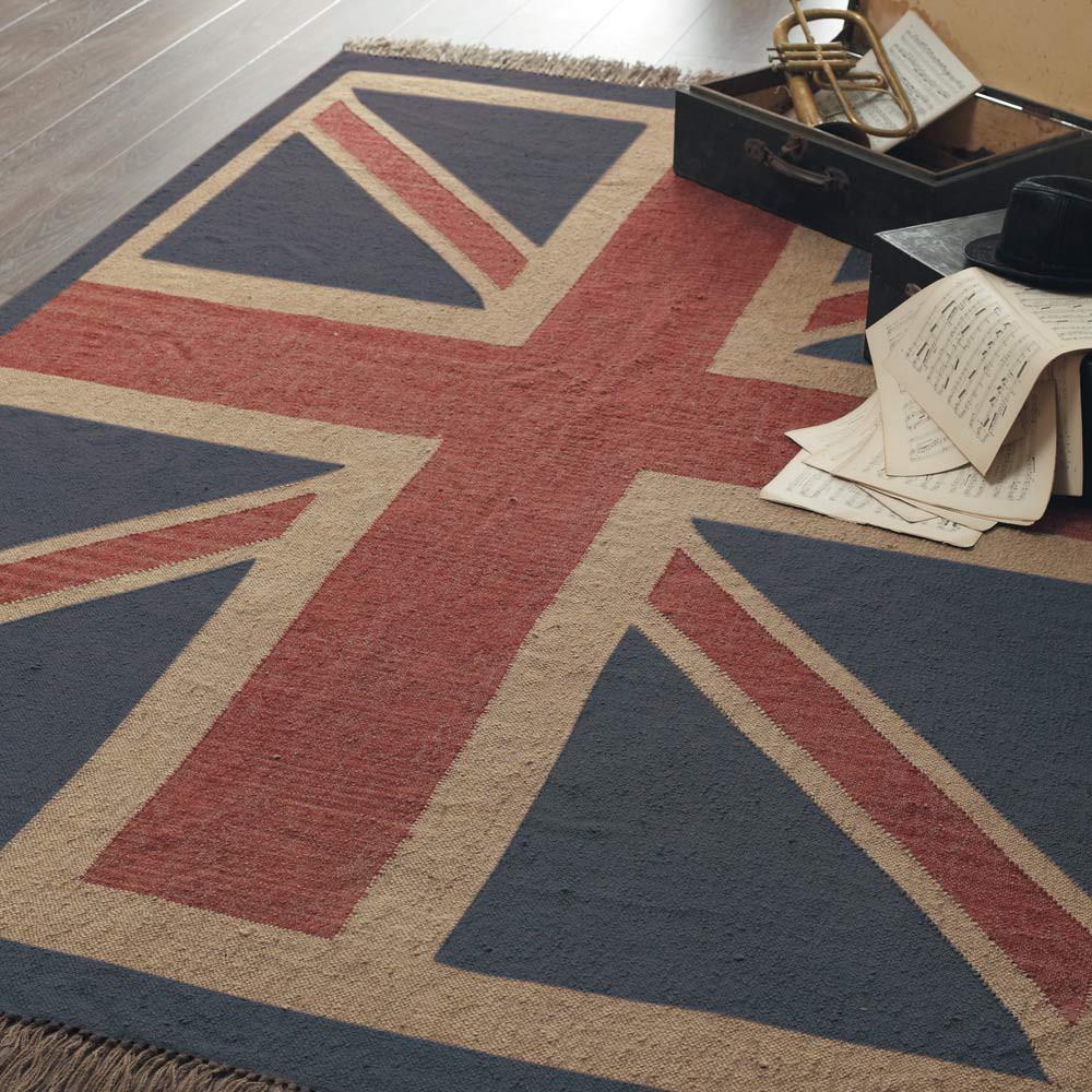 Alfombra de pelos cortos de lana roja y azul 170 x 240 cm british maisons du monde - Alfombras de pelo corto ...