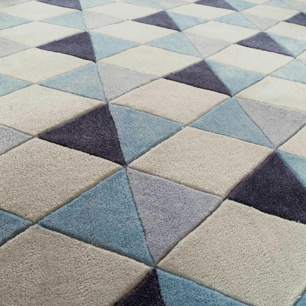 alfombra de pelos cortos de tela azul 160 x 230 cm nordic