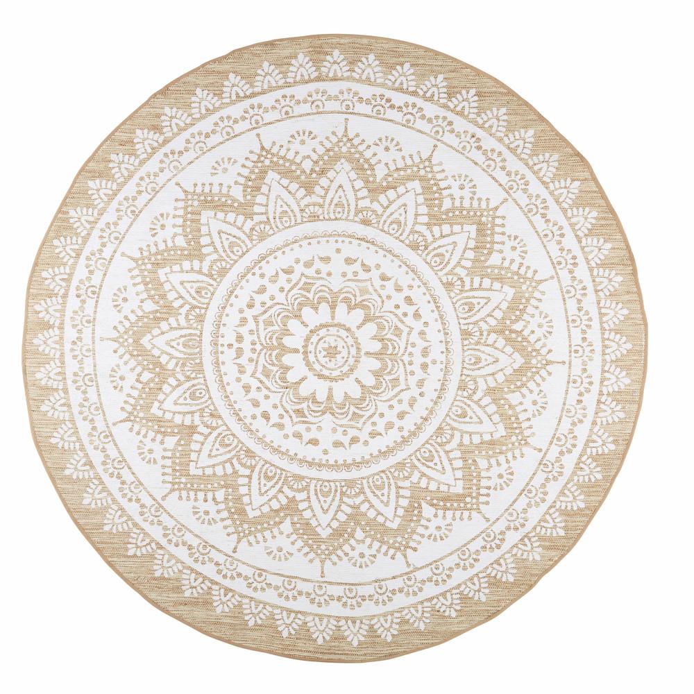 Alfombra de yute y algod n blanco cm mandala for La maison du tapis