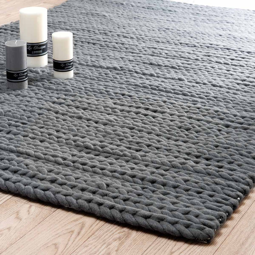 alfombra gris antracita stockholm 160x230 maisons du monde