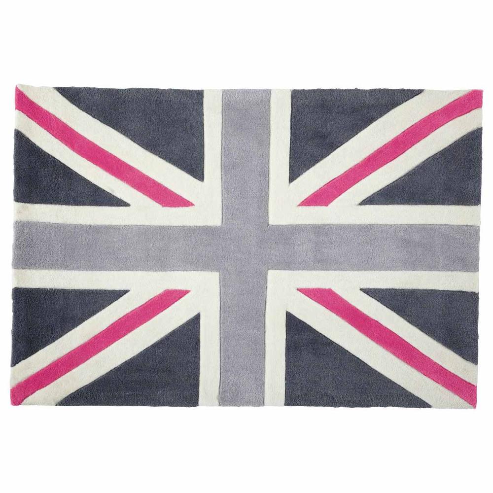 Alfombra gris y rosa de pelo corto 120 180 cm union jack - Alfombra gris pelo corto ...