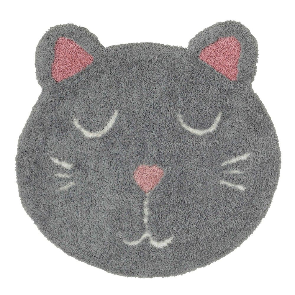 Alfombra infantil gato gris 80 x 80 cm mimichat maisons du monde - Alfombra redonda infantil ...