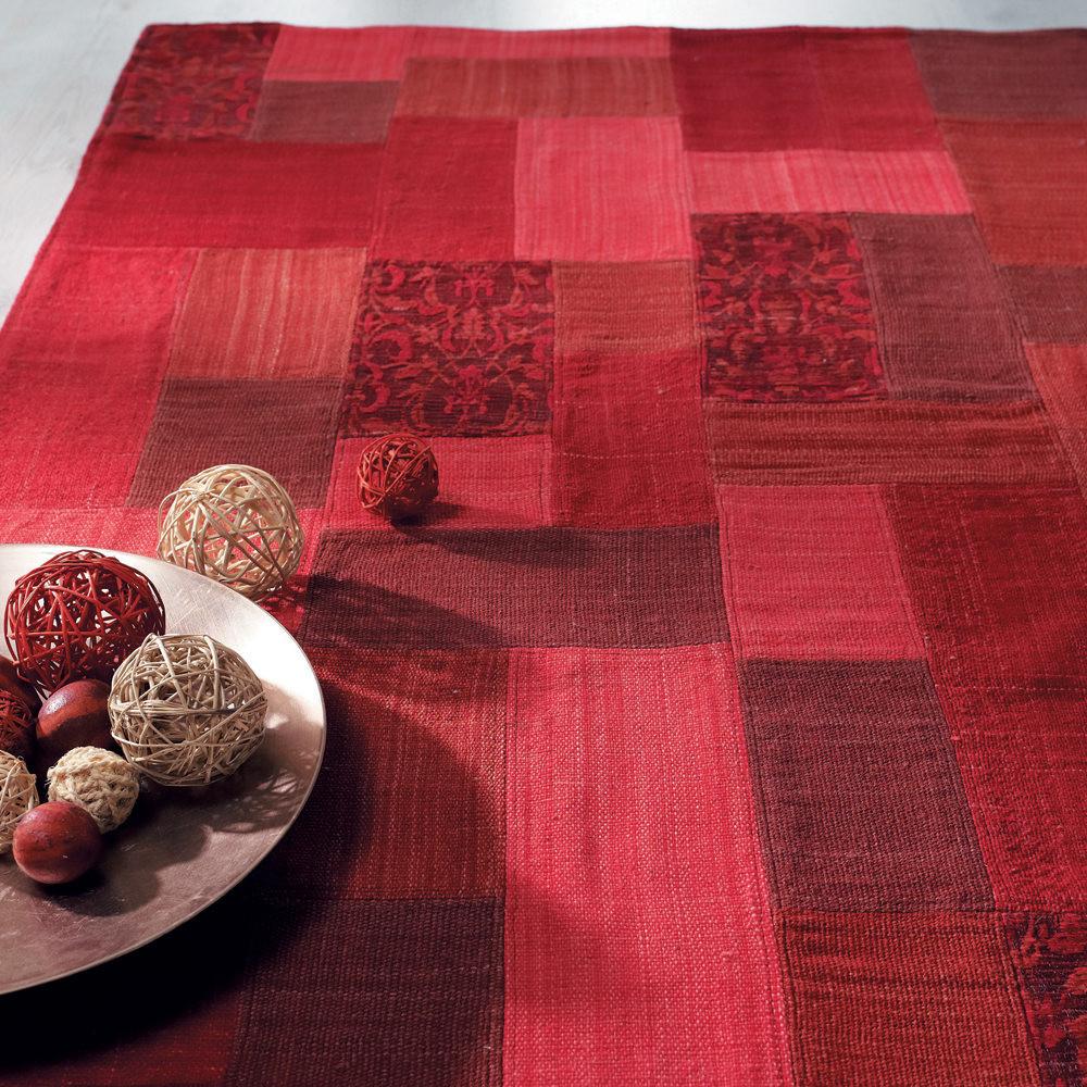 Alfombra patchwork roja maisons du monde - Alfombra patchwork ...