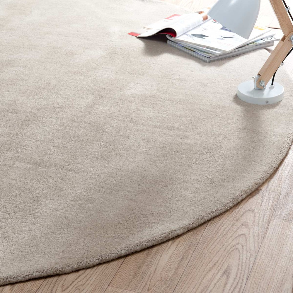 Alfombra redonda soft beige di 200 cm maisons du monde for Alfombra redonda gris