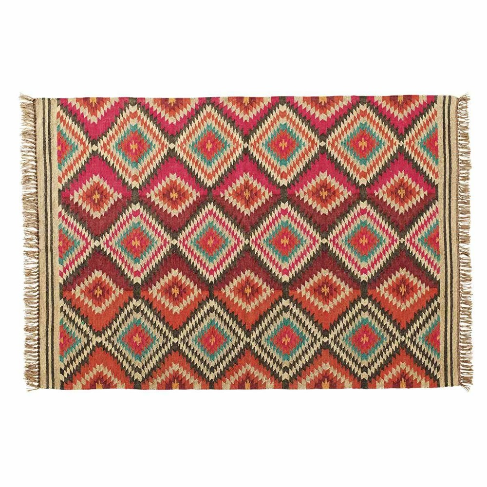 Alfombra trenzada de lana de colores 160 x 230 cm acapulco for Alfombras de colores