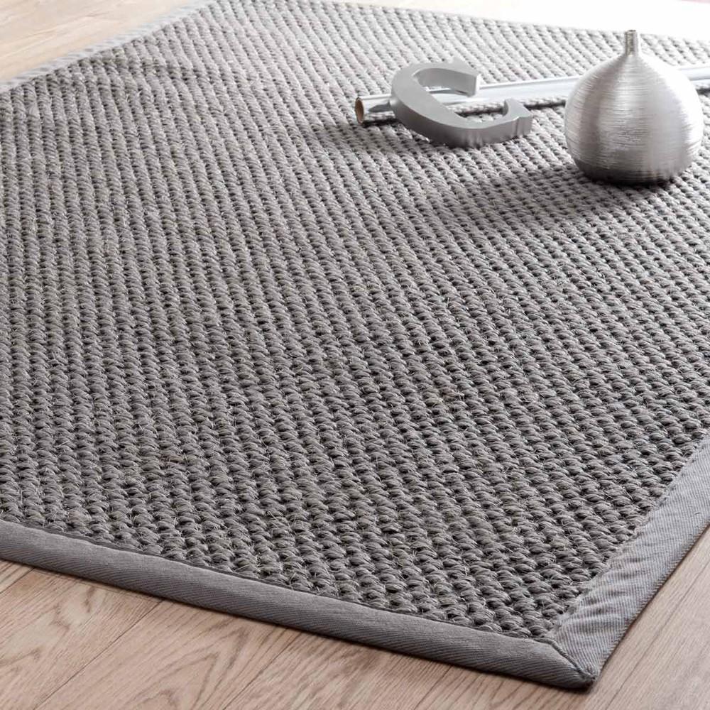 Alfombra trenzada de sisal gris 140 x 200 cm bastide - Alfombras de sisal ...
