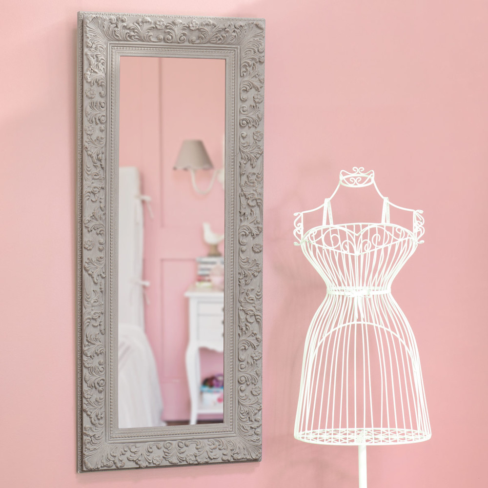 Ali nor wooden mirror in beige h 130cm maisons du monde for Miroir 90 x 70
