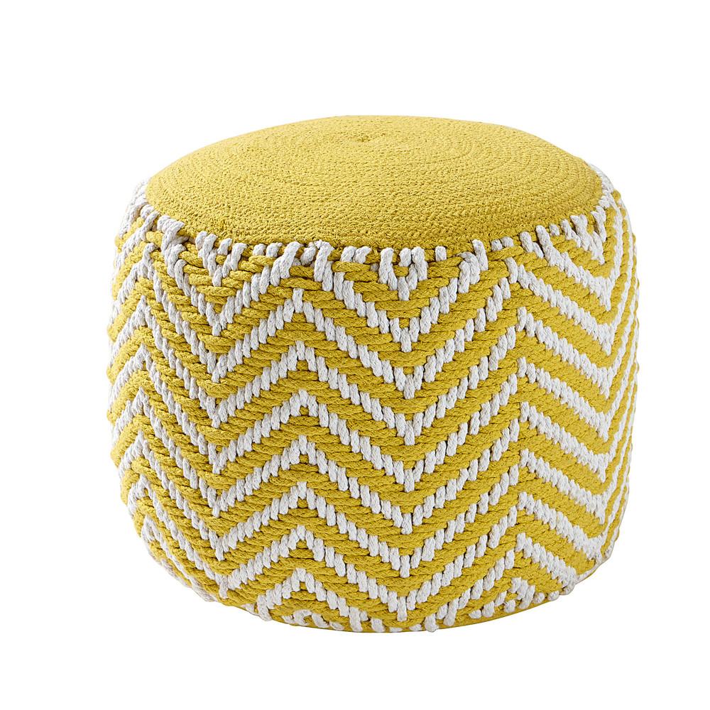 Alix Yellow Cotton Round Woven Pouffe Maisons Du Monde