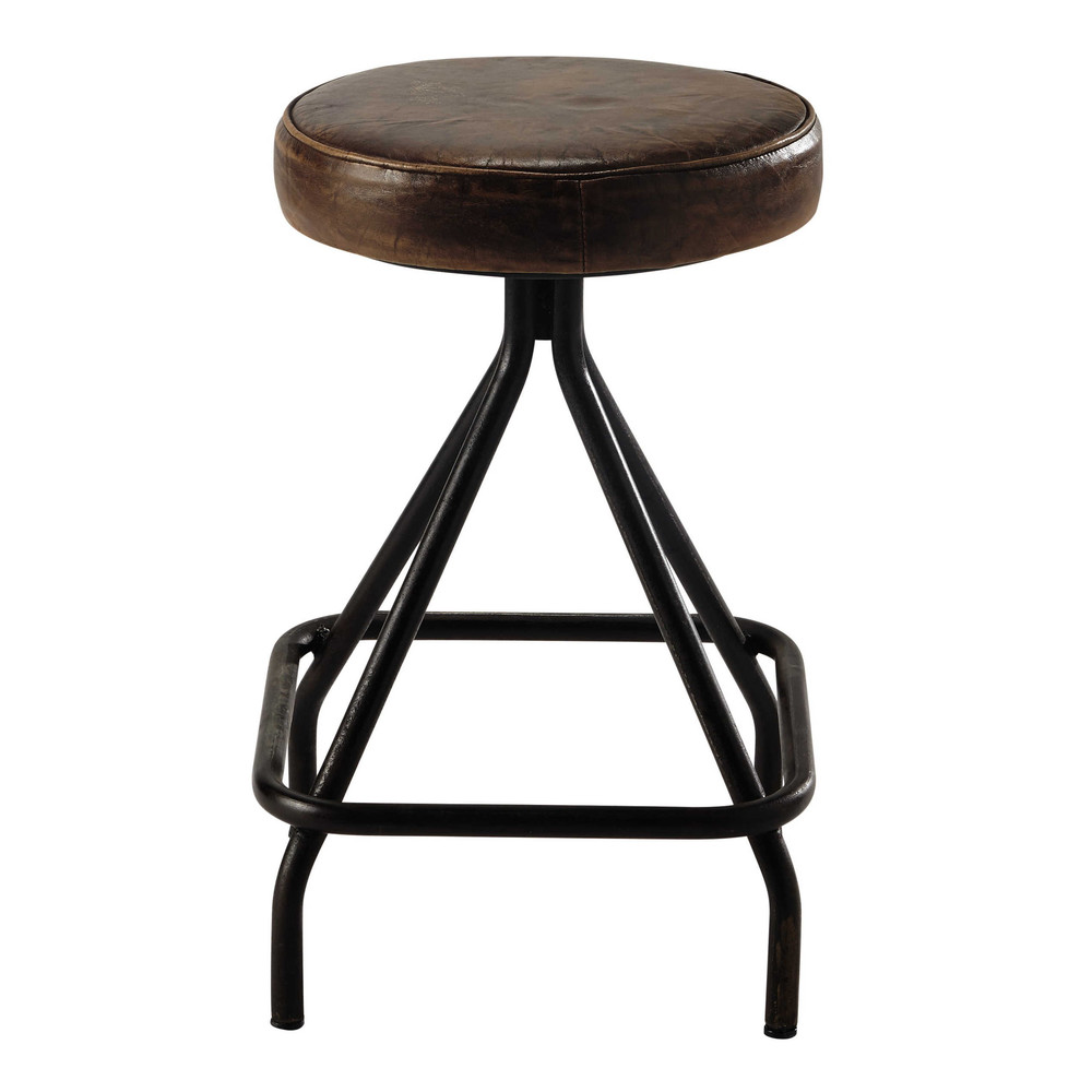 allen metal and brown leather stool maisons du monde. Black Bedroom Furniture Sets. Home Design Ideas
