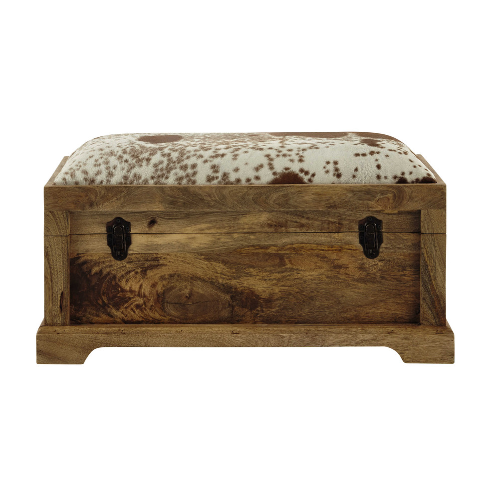 alpin mango wood and goatskin ottoman w 84cm maisons du monde. Black Bedroom Furniture Sets. Home Design Ideas