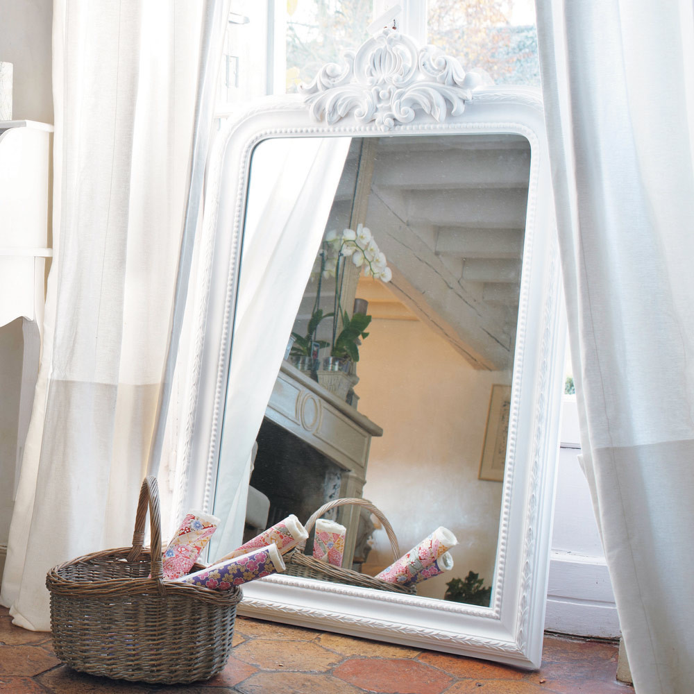 ALTESSE Carved Paulownia Wood Trumeau Mirror In White H
