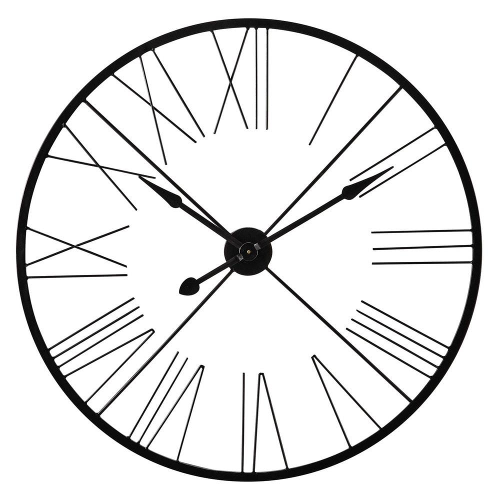 Alton metal industrial clock in black d 90cm maisons du for Orologi maison du monde