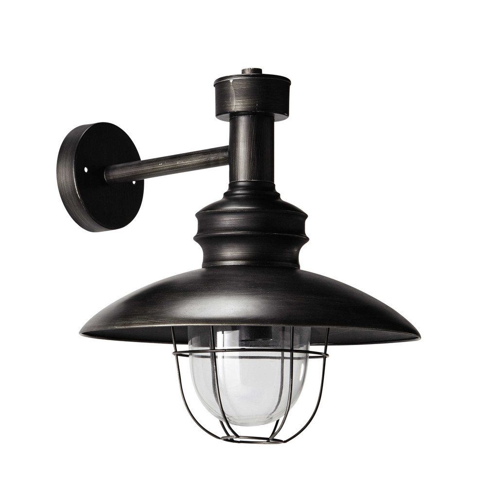 Metal Outdoor Wall Lights : AMARRAGE antiqued metal wall light in black H 34cm Maisons du Monde