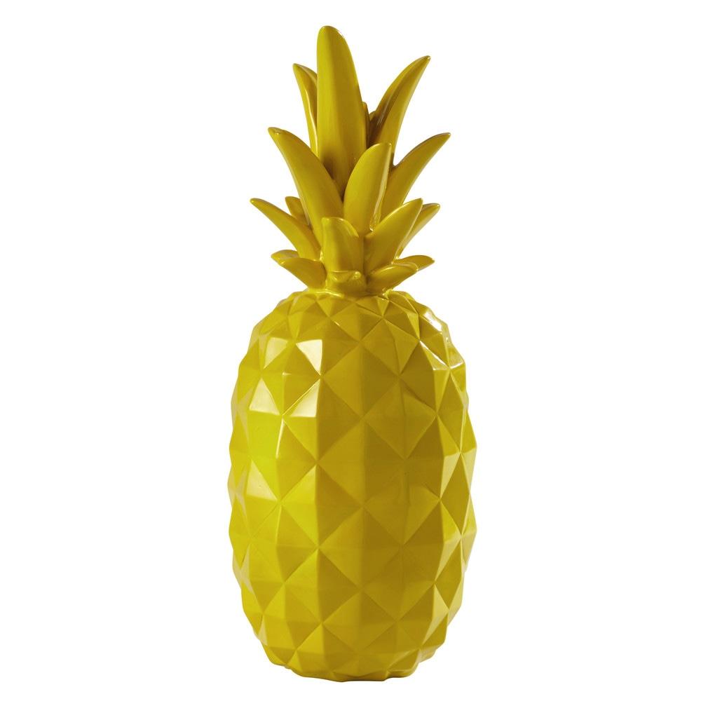 Ananas d coratif en r sine jaune h 57 cm janeiro maisons for Objet deco jaune