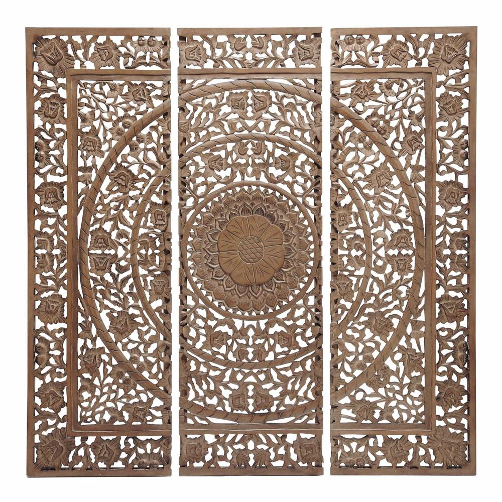 andaman carved wood triptych brown h 153cm maisons du monde