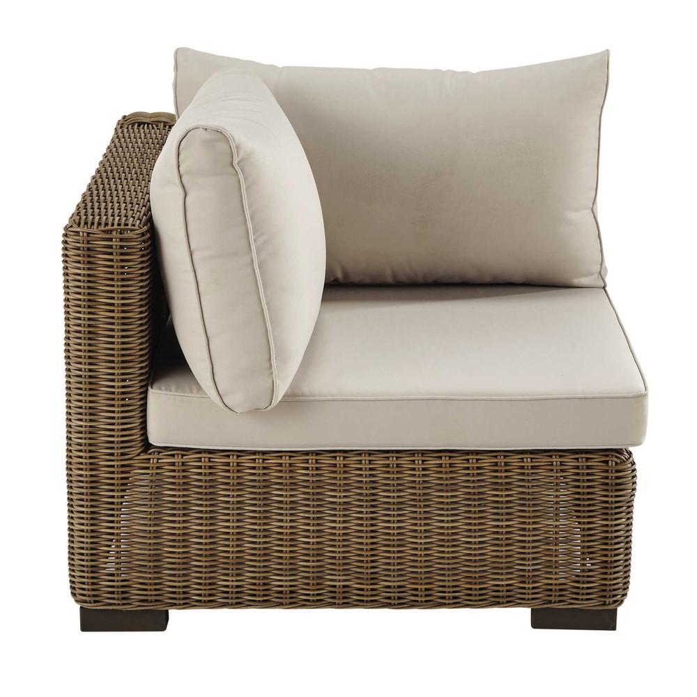 angle de canap de jardin en r sine tress e et tissu beige. Black Bedroom Furniture Sets. Home Design Ideas