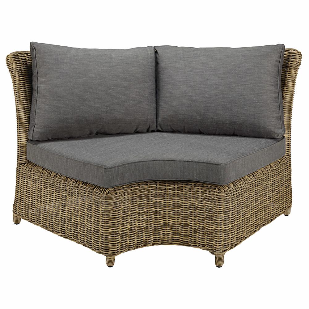 Angolo arrotondato di divano da giardino in resina intrecciata e cuscini grigi st rapha l - Divano in resina da esterno ...