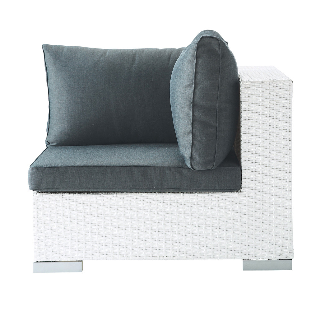 Angolo bianco di divano da giardino in resina intrecciata antibes maisons du monde - Divano da giardino ...