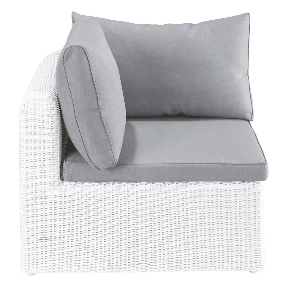 Angolo bianco di divano da giardino in resina intrecciata mykonos maisons du monde - Divano in resina da esterno ...