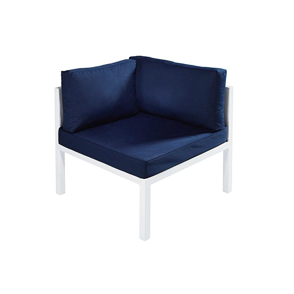 Angolo da giardino in alluminio bianco e cuscini blu for Angolo giardino