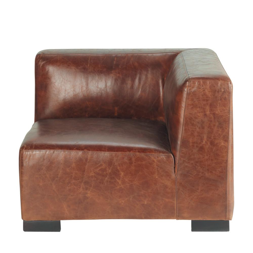 Angolo di divano marrone in cuoio john maisons du monde - Divano pelle marrone ...