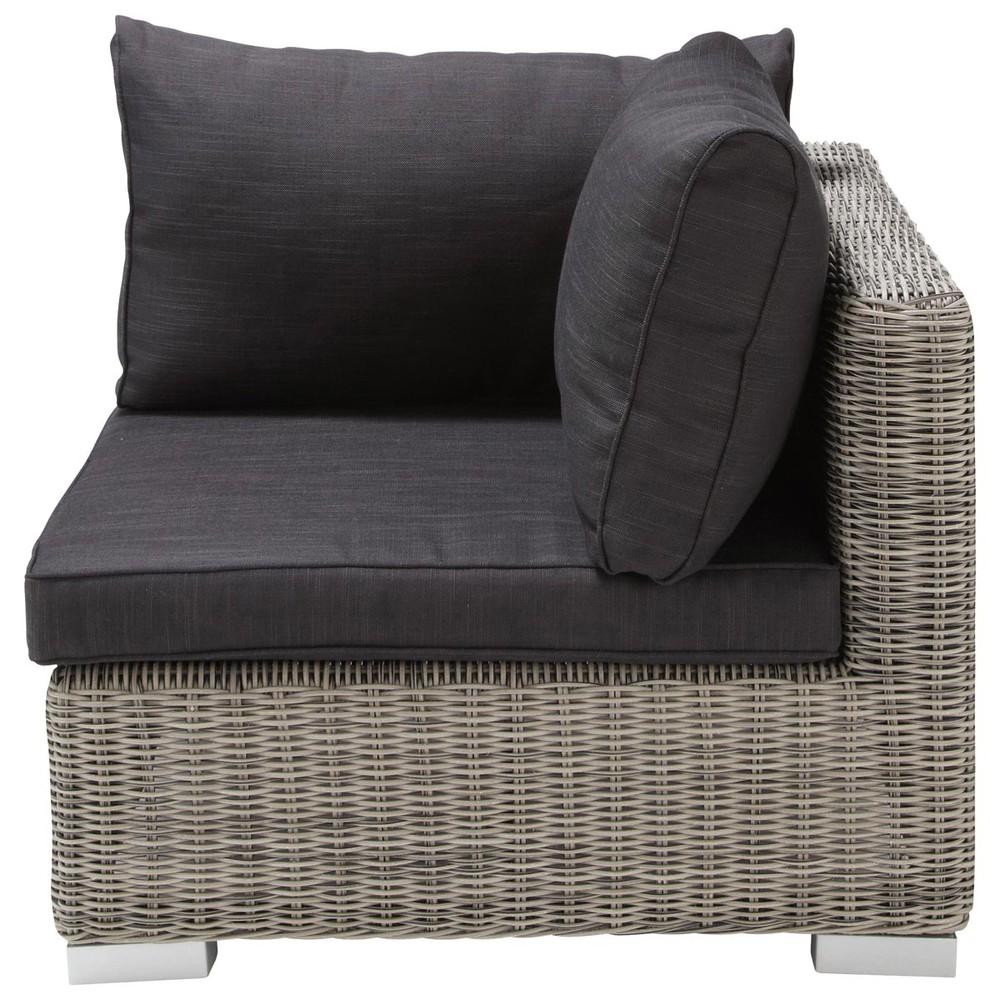 Angolo grigio di divano da giardino in resina intrecciata - Maison du monde cuscini da esterno ...